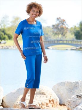 Grommet Trim Square Neck Tee & Capris by Alfred Dunner