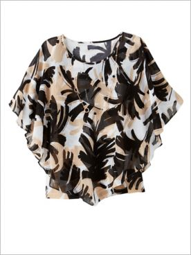 Zanzibar Brushstroke Leaves Poncho by Alfred Dunner