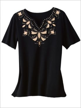 Zanzibar Cut Out Yoke Tee by Alfred Dunner