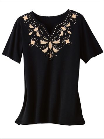Zanzibar Cut Out Yoke Tee by Alfred Dunner - Image 2 of 2
