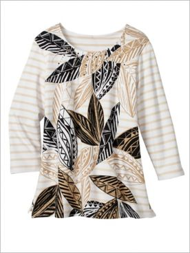 Zanzibar Batik Leaves Knit Top by Alfred Dunner