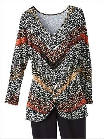 Ruby Rd. Stripe Leopard Knit 3/4 Sleeve Top