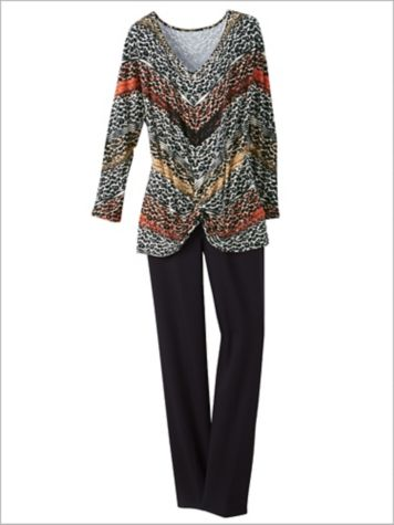 Diagonal Stripe Leopard Top & Slimtacular® Pants