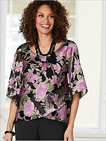 Floral Burnout Tulip Hem Top by Alex Evenings