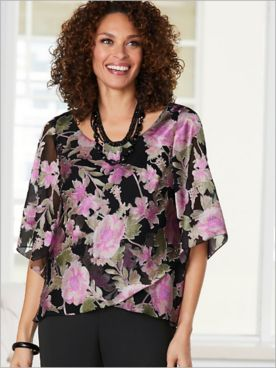 Alex Evenings Floral Burnout Tulip Hem Special Occasion Top