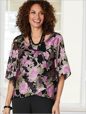 Alex Evenings Floral Burnout Tulip Hem Special Occasion Top - Image 2 of 2