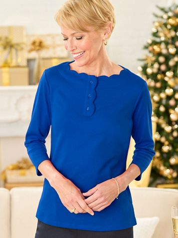 Basic Scalloped Neck 3/4 Sleeve Henley - Image 1 of 7