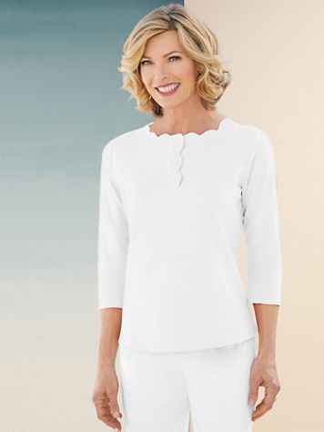 Basic Scalloped Neck 3/4 Sleeve Henley - Image 2 of 2