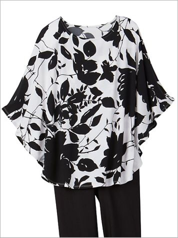 Silhouette Rose Knit Poncho - Image 2 of 2