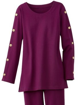 Brownstone Studio® Gold Button Long Sleeve Ponte Tunic