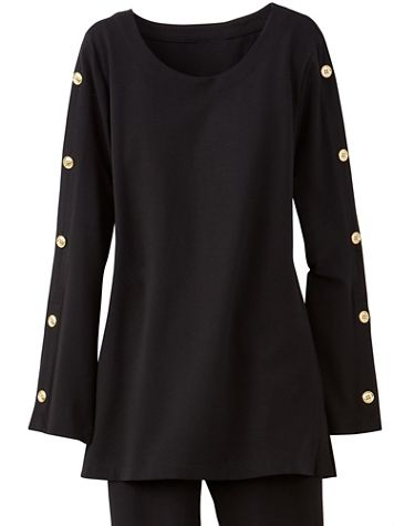 Brownstone Studio® Gold Button Long Sleeve Ponte Tunic - Image 2 of 2