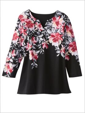 Alfred Dunner Knit 3/4 Sleeve Floral Top