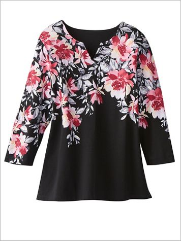 Alfred Dunner Knit 3/4 Sleeve Floral Top - Image 2 of 2