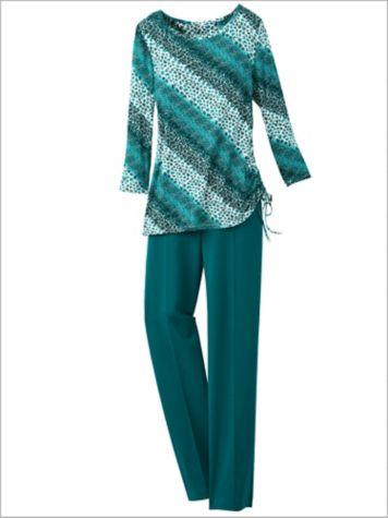 Diagonal Spots Print Tee & Stitched Crease Ponte Pants
