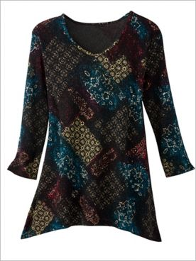 Foil Patch Textured Knit 3/4 Sleeve Tunic