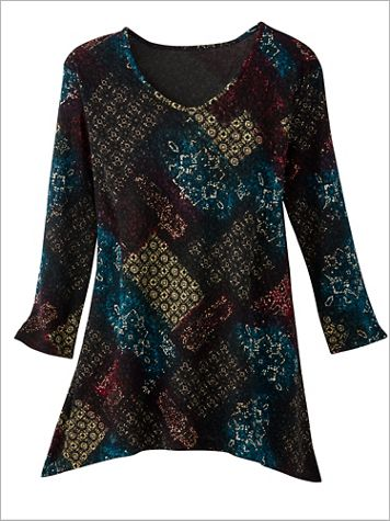 Foil Patch Textured Knit 3/4 Sleeve Tunic - Image 2 of 2