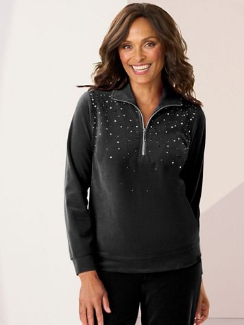 Starlight Sparkle Half Zip Velour Polo - Image 1 of 3