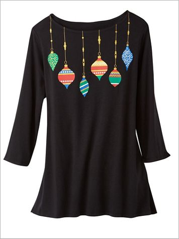 Ornamental Necklace Print Knit Top - Image 1 of 3