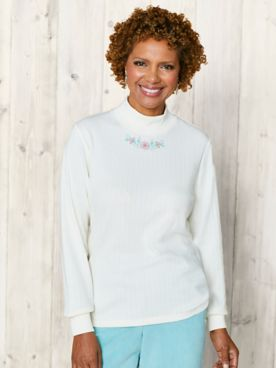 St. Mortiz Embroidered Mock Neck Top by Alfred Dunner