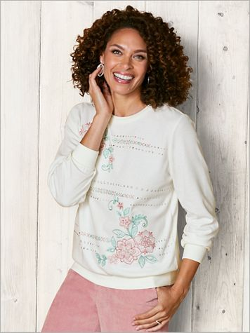 St. Moritz Embroidered Floral Knit Top by Alfred Dunner - Image 2 of 2