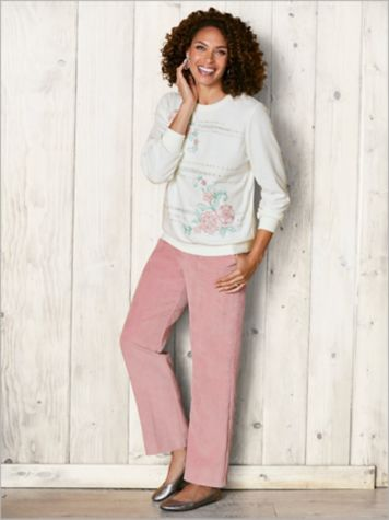 St. Mortiz Embroidered Floral Knit Top & Cord Pants by Alfred Dunner