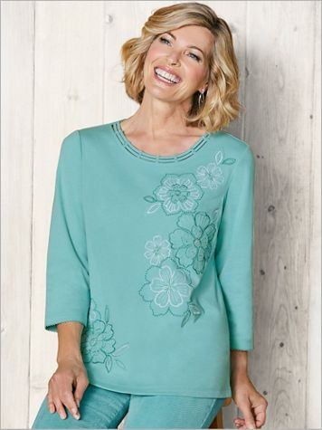 Embroidered Flowers Tee by Alfred Dunner - Image 1 of 5