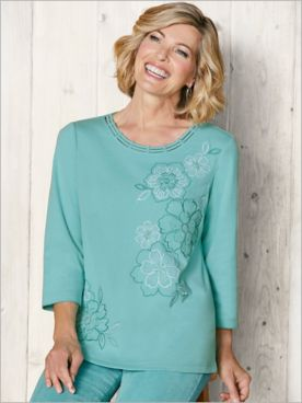 Embroidered Flowers Tee by Alfred Dunner