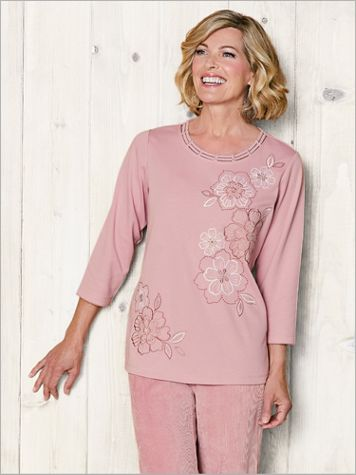 Embroidered Flowers Tee by Alfred Dunner - Image 4 of 5