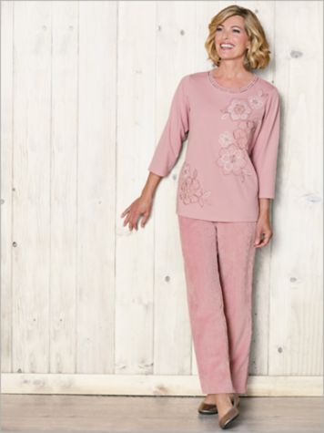 Embroidered Flowers Tee & Cord Pants by Alfred Dunner