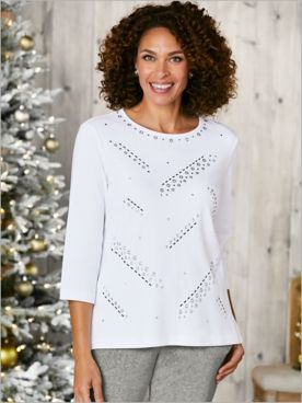 3/4 Sleeve Tee With Grommets by Alfred Dunner