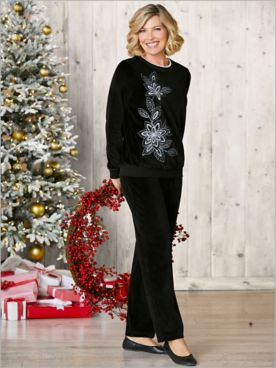 Velour Asymmetrical Top  & Velour Pants by Alfred Dunner