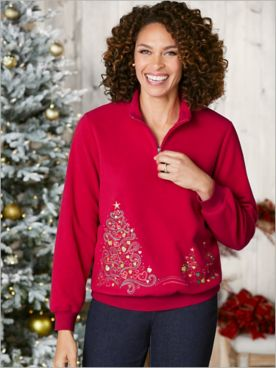 Alfred Dunner Fleece Zip Neck Christmas Tree Top
