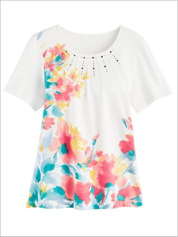 Asymmetric Floral Print Tee by Alfred Dunner - Image 1 of 1