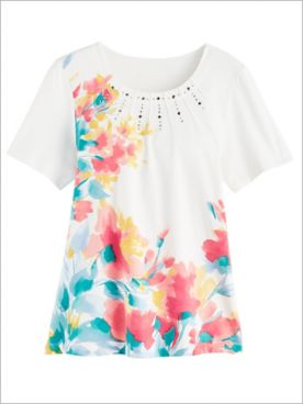 Asymmetric Floral Print Tee by Alfred Dunner