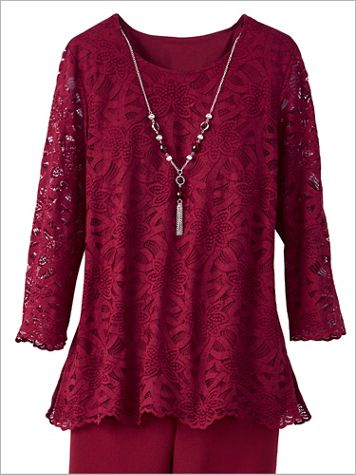 Alfred Dunner Lace 3/4 Sleeve Top