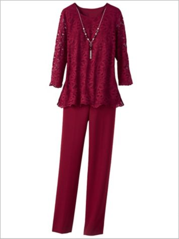 Madison Avenue Lace Top & Solid Pants