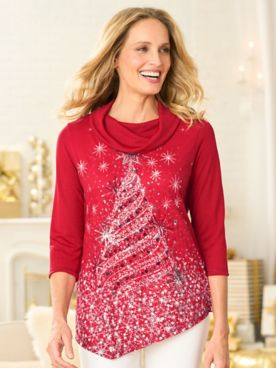 Dazzling Tree Cowl Neck 3/4 Sleeve Top