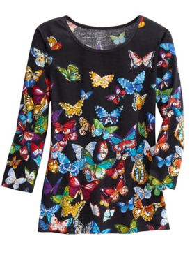 Butterflies At Night 3/4 Sleeve Tee