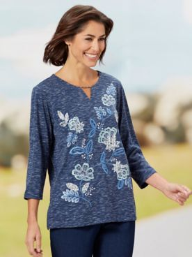 Alfred Dunner All Over Floral Embroidered 3/4 Sleeve Tee