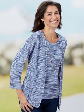 Alfred Dunner Space Dye Two-Fer 3/4 Sleeve Sweater
