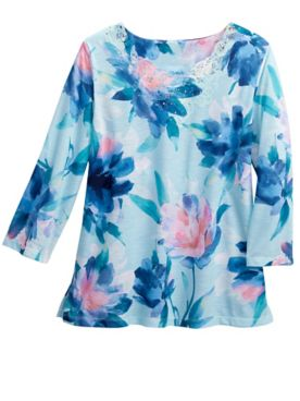 Alfred Dunner Watercolor Floral Knit Top