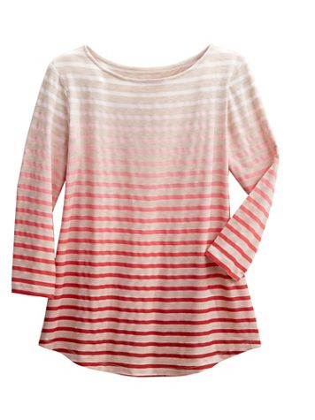 Ombré Stripe Border Tee by D&D Lifestyle™ - Image 1 of 3