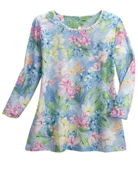 Alfred Dunner Classics Floral 3/4 Sleeve Knit Top