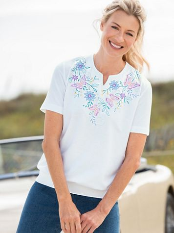 Alfred Dunner Classics Butterfly Yoke Knit Top - Image 2 of 2
