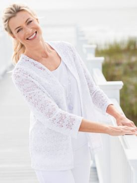 Alfred Dunner Classic Popcorn Knit Two-Fer