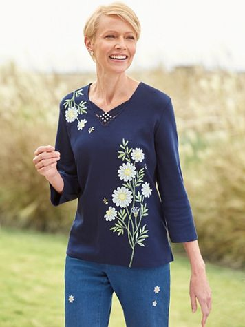 Alfred Dunner Asymmetric Daisies Knit Top - Image 1 of 1