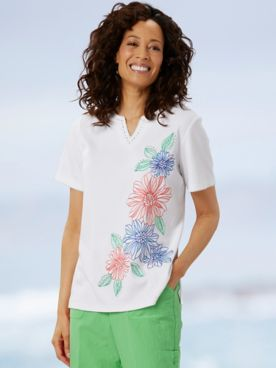 Alfred Dunner Short Sleeve Floral Embroidered Tee