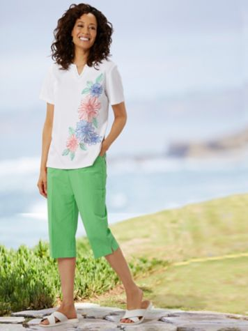 Alfred Dunner Floral Embroidered Tee & Cargo Pocket Capris