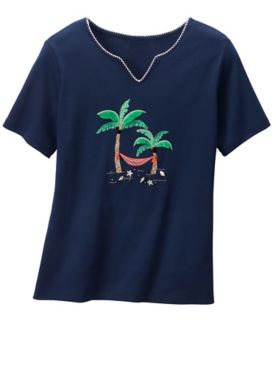 Alfred Dunner Palm Tree Hammock Tee