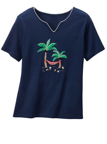 Alfred Dunner Palm Tree Hammock Tee - Image 2 of 2